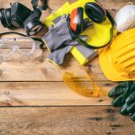 Protective Hard Hat, Headphones, Gloves And Glasses
