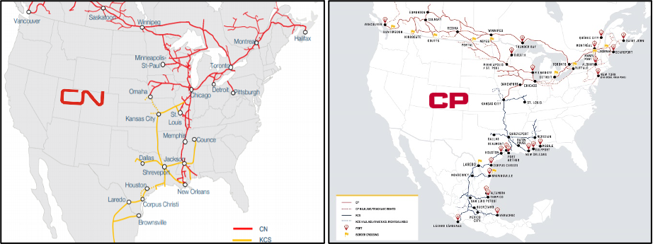 map canadian pacific and canadian national